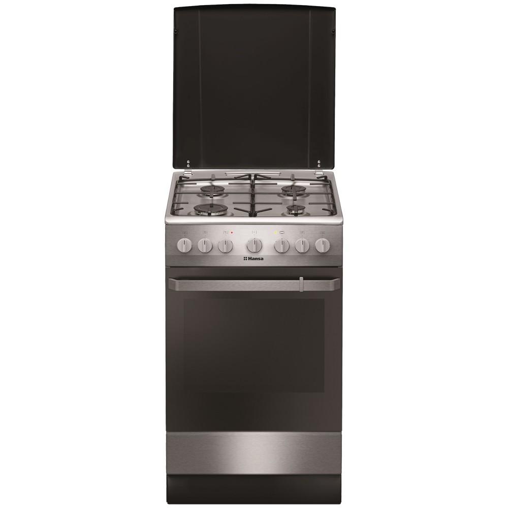 Aragaz electric / gaz Hansa FCMX581009, 4 arzatoare gaz, cuptor electric, aprindere electrica, dispozitiv siguranta plita, grill, latime 50 cm, inox