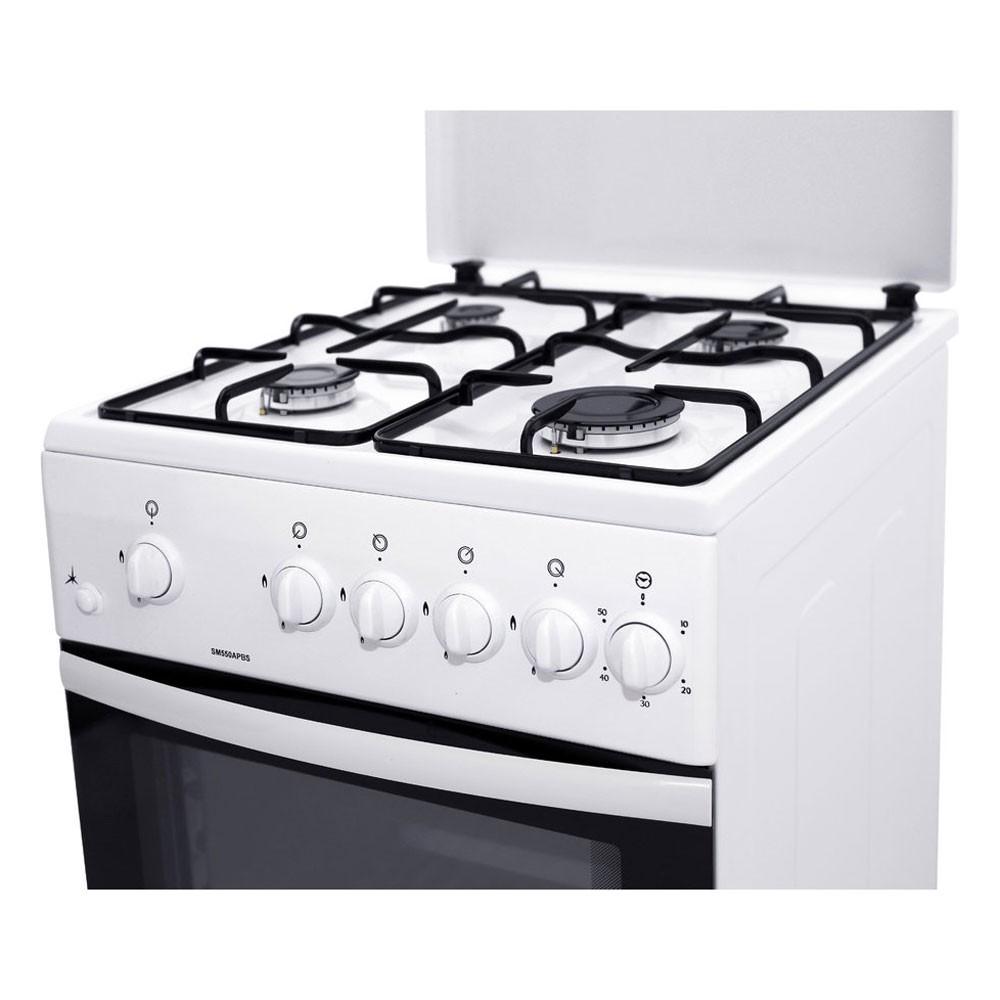 Aragaz pe gaz Samus SM550APBS, 4 arzatoare, aprindere electrica, dispozitiv siguranta plita si cuptor, timer, termometru cuptor, latime 50 cm, alb