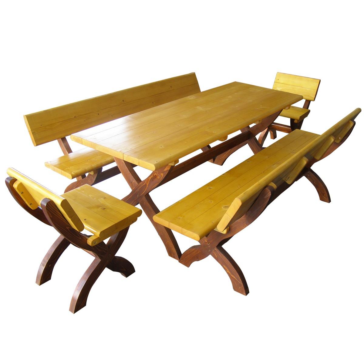 Dedeman set masa cu 2 scaune si 2 banci din lemn pentru for Masa cu scaune dedeman