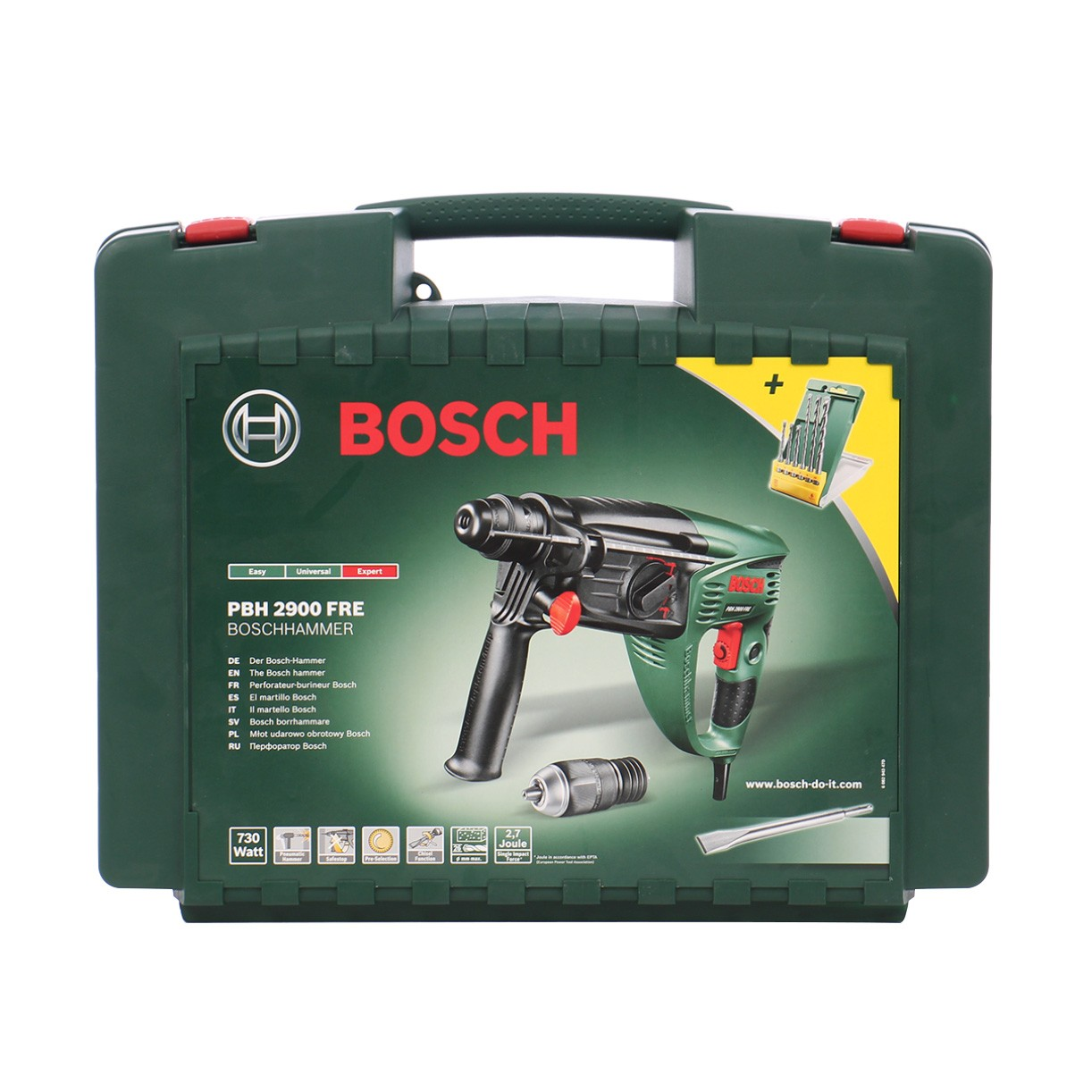 Ciocan rotopercutor cu 3 functii Bosch PBH 2900  730 W + accesorii