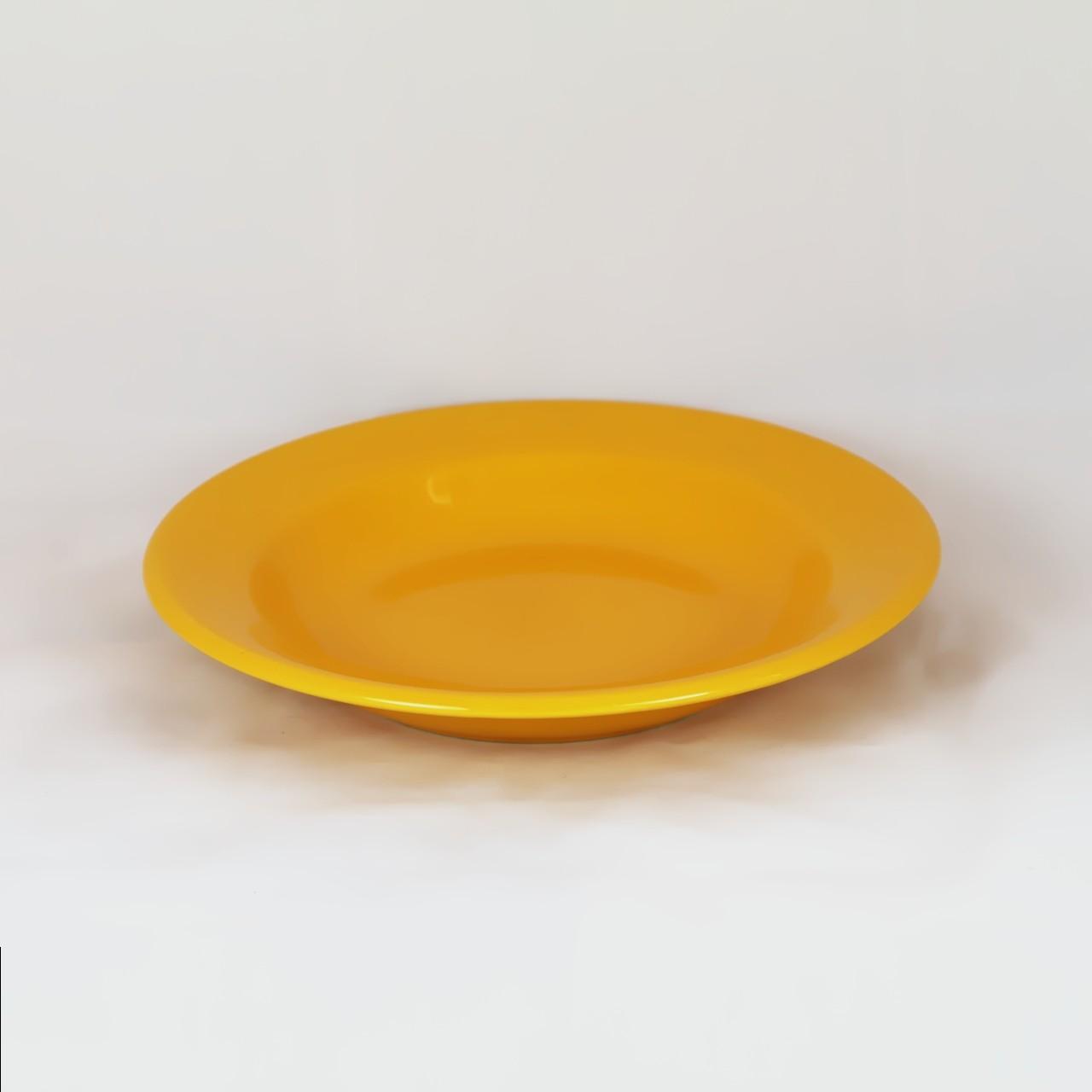 Farfurie adanca, ceramica, galbena, 22 cm