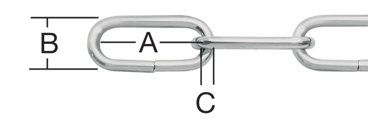 Lant cu za ovala, nichelat, 2 mm