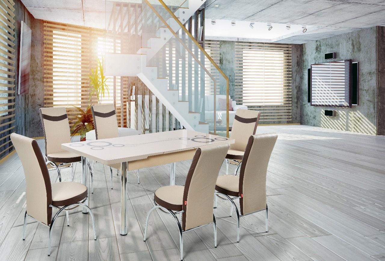 Dedeman set masa extensibila cu 6 scaune bucatarie for Masa cu scaune dedeman