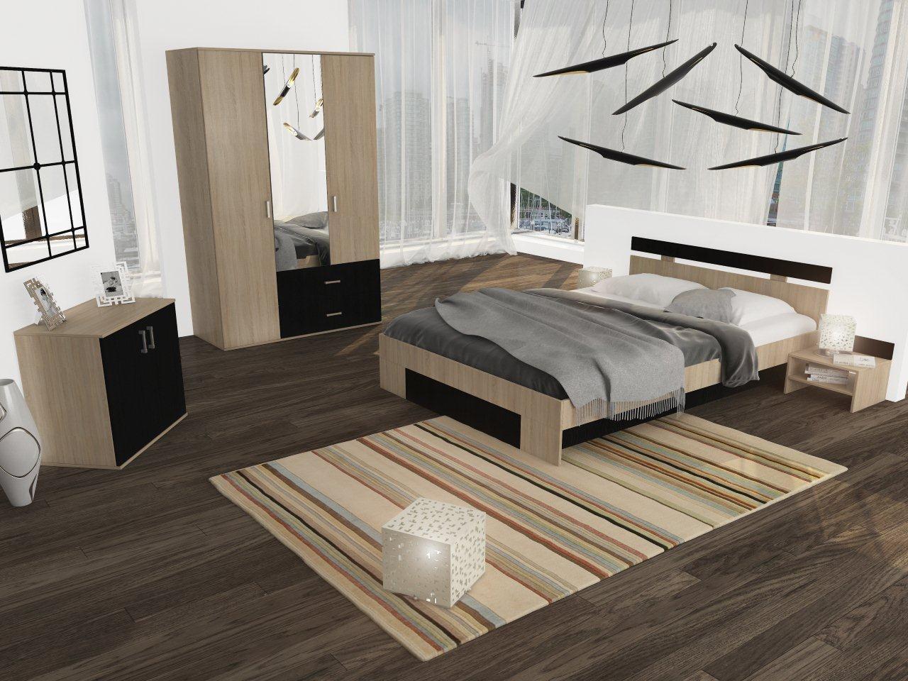 Dulap dormitor Raul, stejar bardolino + magia, 3 usi, cu oglinda, 120 x 52 x 206 cm, 3C