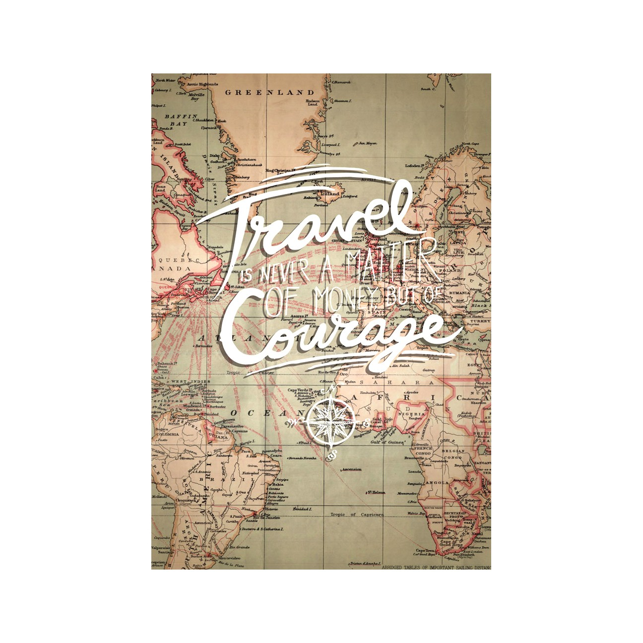 Tablou PT1440 Travel & courage, panza canvas + sasiu brad, stil motivational, 60 x 45 cm