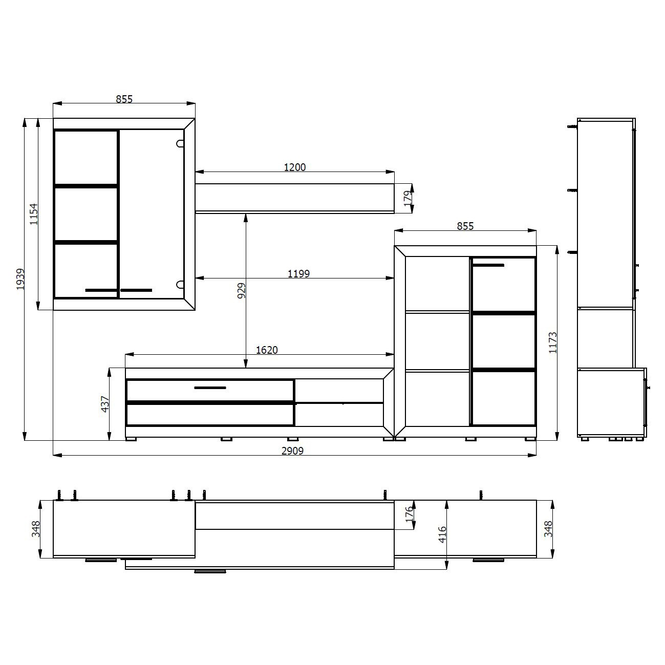 Biblioteca living Remo, stejar gri + alb, 293 cm, 3C