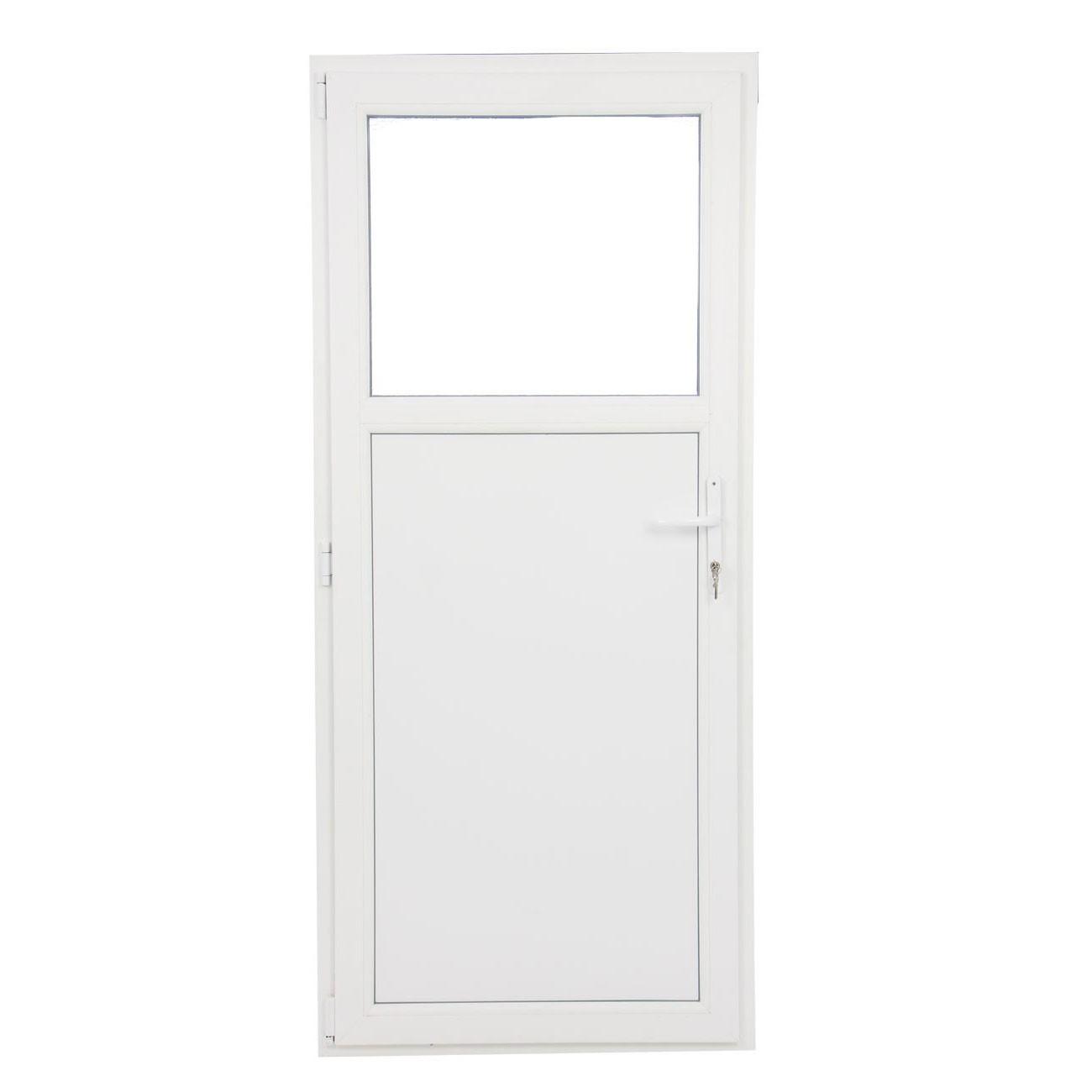 Usa exterior din PVC cu geam termopan 1/3, Far Est Weiss tip 1, 3 camere, prag PVC, stanga, alb, 87 x 197 cm