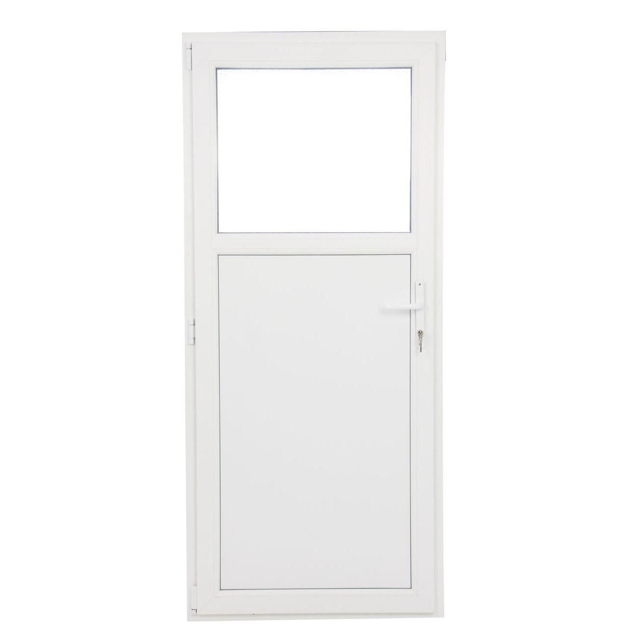 Usa exterior din PVC cu geam termopan 1/3, Far Est Weiss tip 1, 3 camere, prag PVC, stanga, alb, 97 x 197 cm