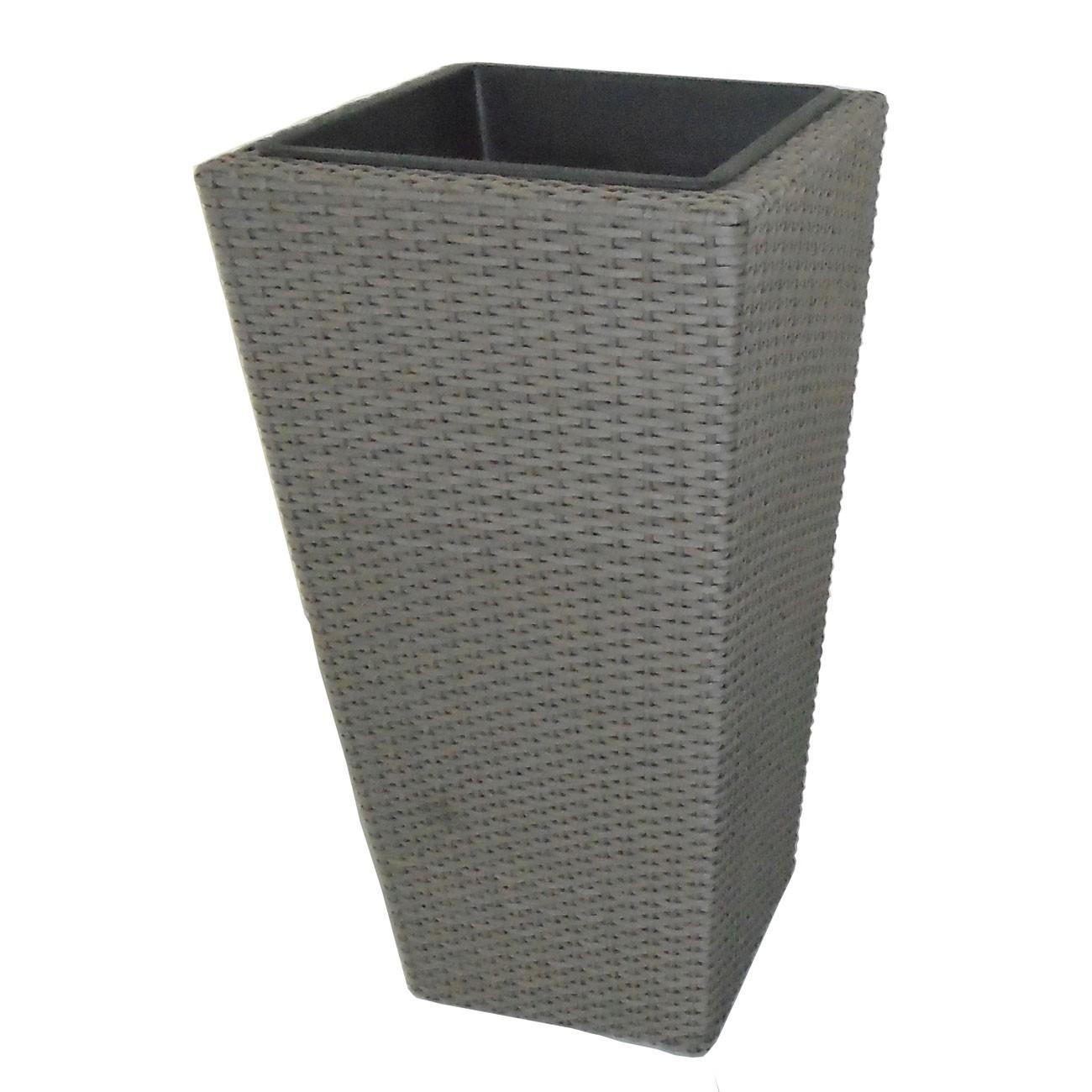 Ghiveci din metal + plastic PLTP-1390, patrat, gri 40 x 40 x 75 cm