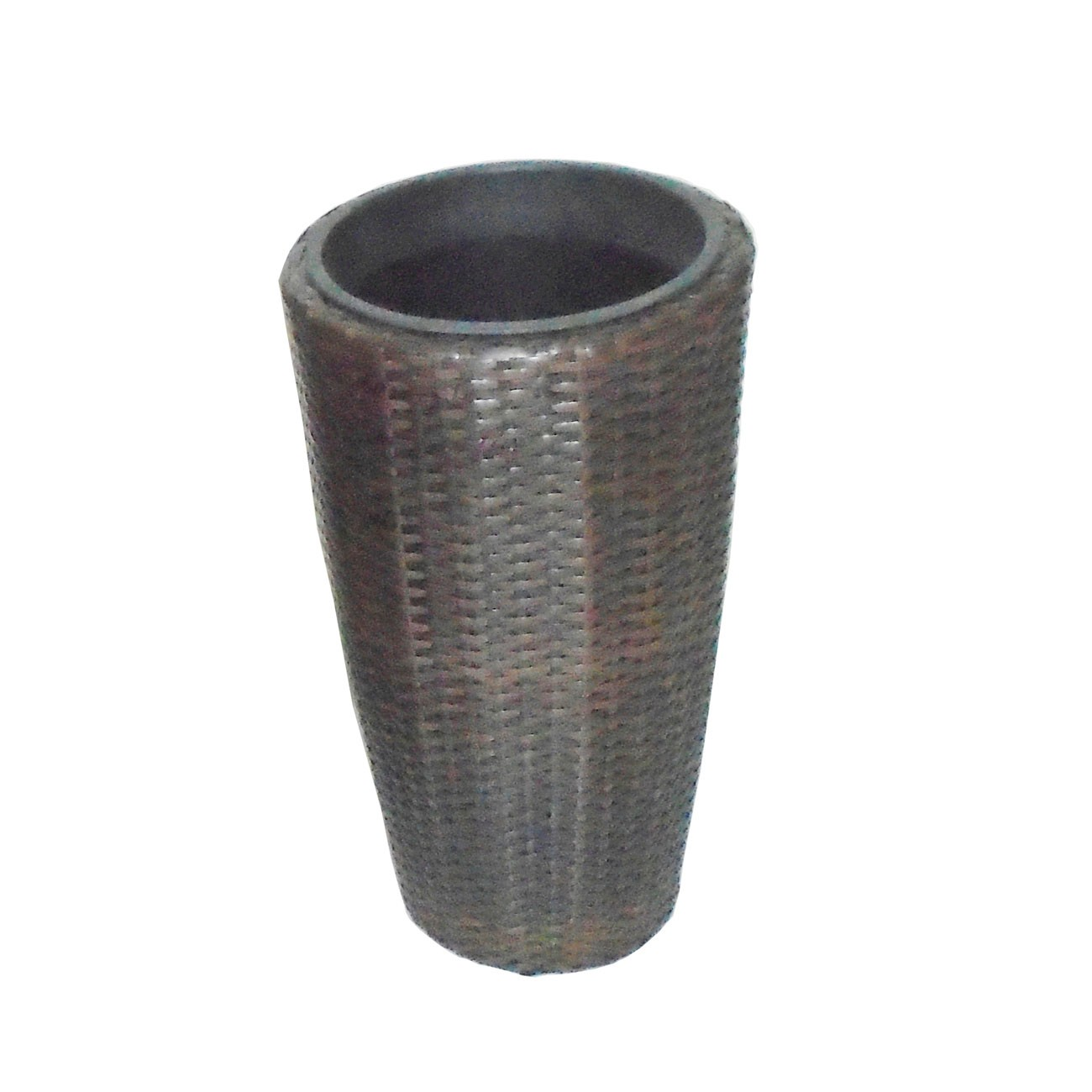 Ghiveci din metal + plastic cu finisaj ratan sintetic PLTP-1391, maro D 30 cm