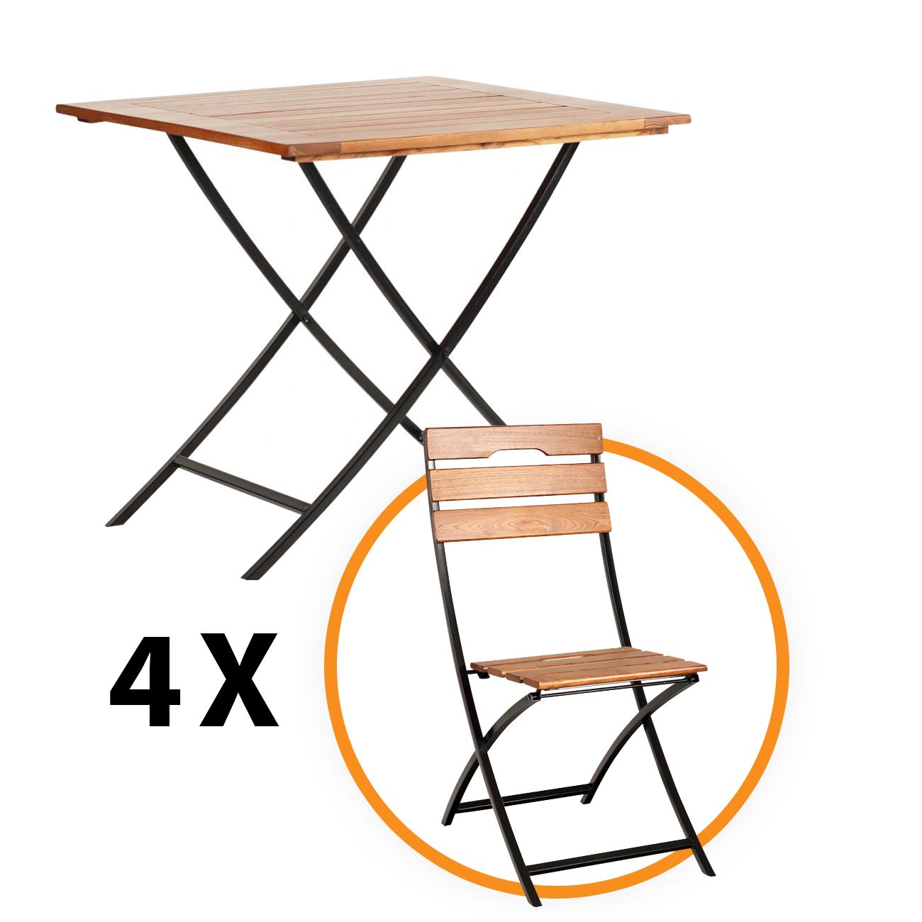 Set masa cu 4 scaune Sicilia, pentru gradina, pliant, metal + lemn
