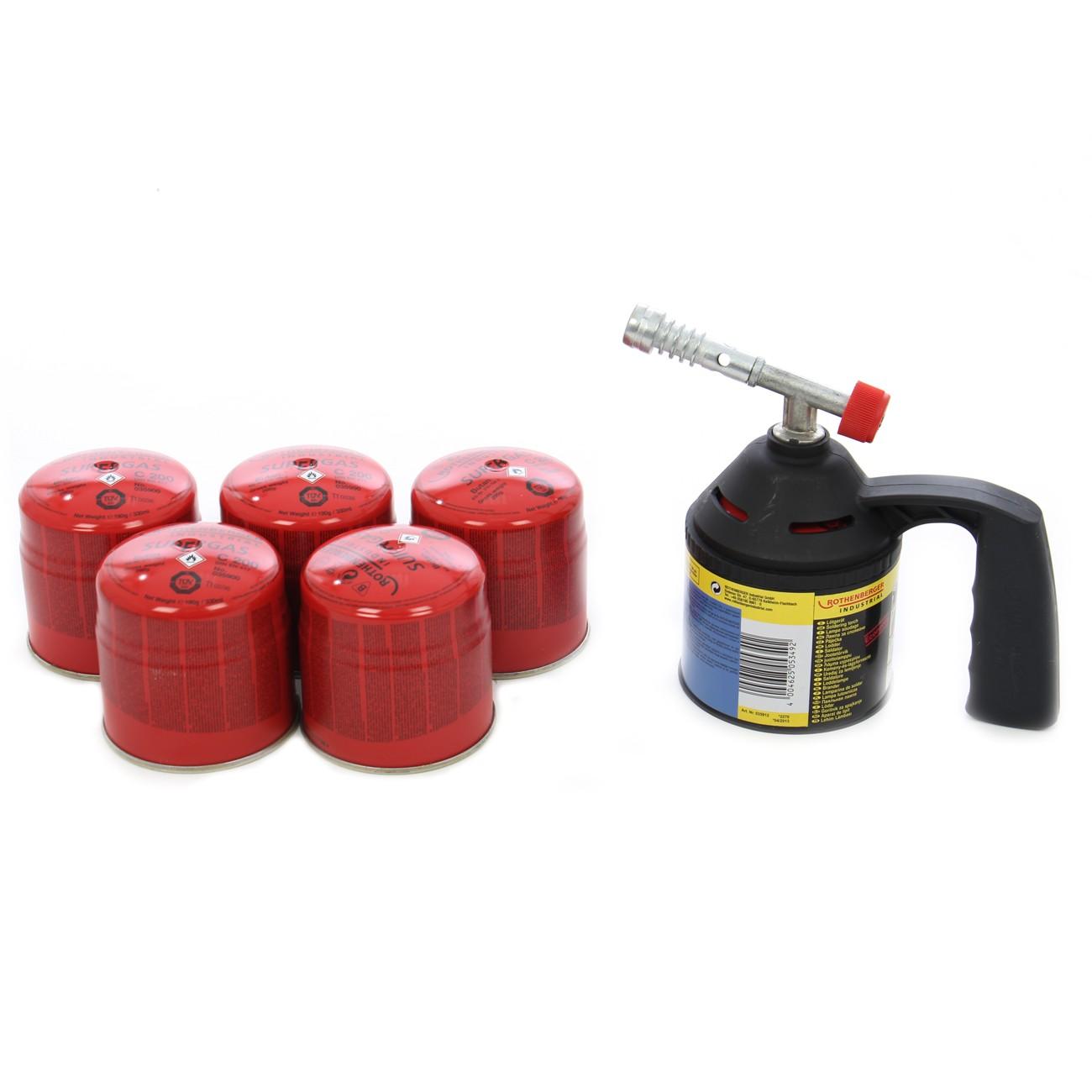 Arzator Rothenberger RoFlame + 5 cartuse gaz C200, 190 ml