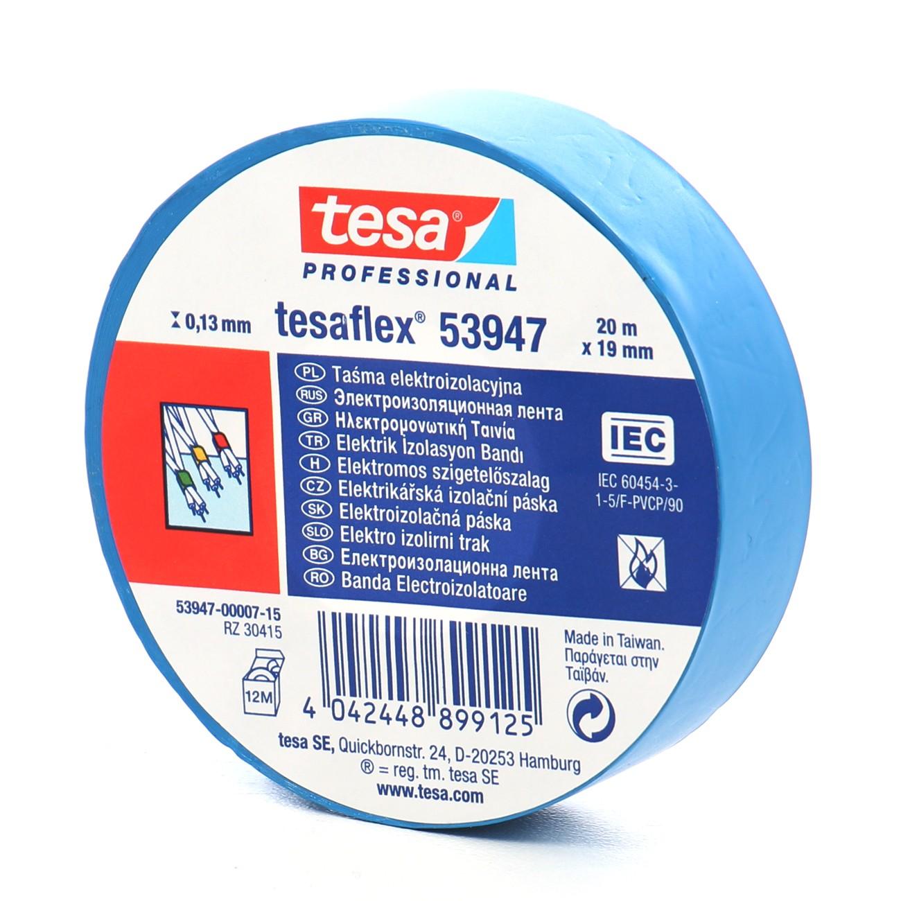 Banda izolatoare Tesa albastra 20 m x 19 mm
