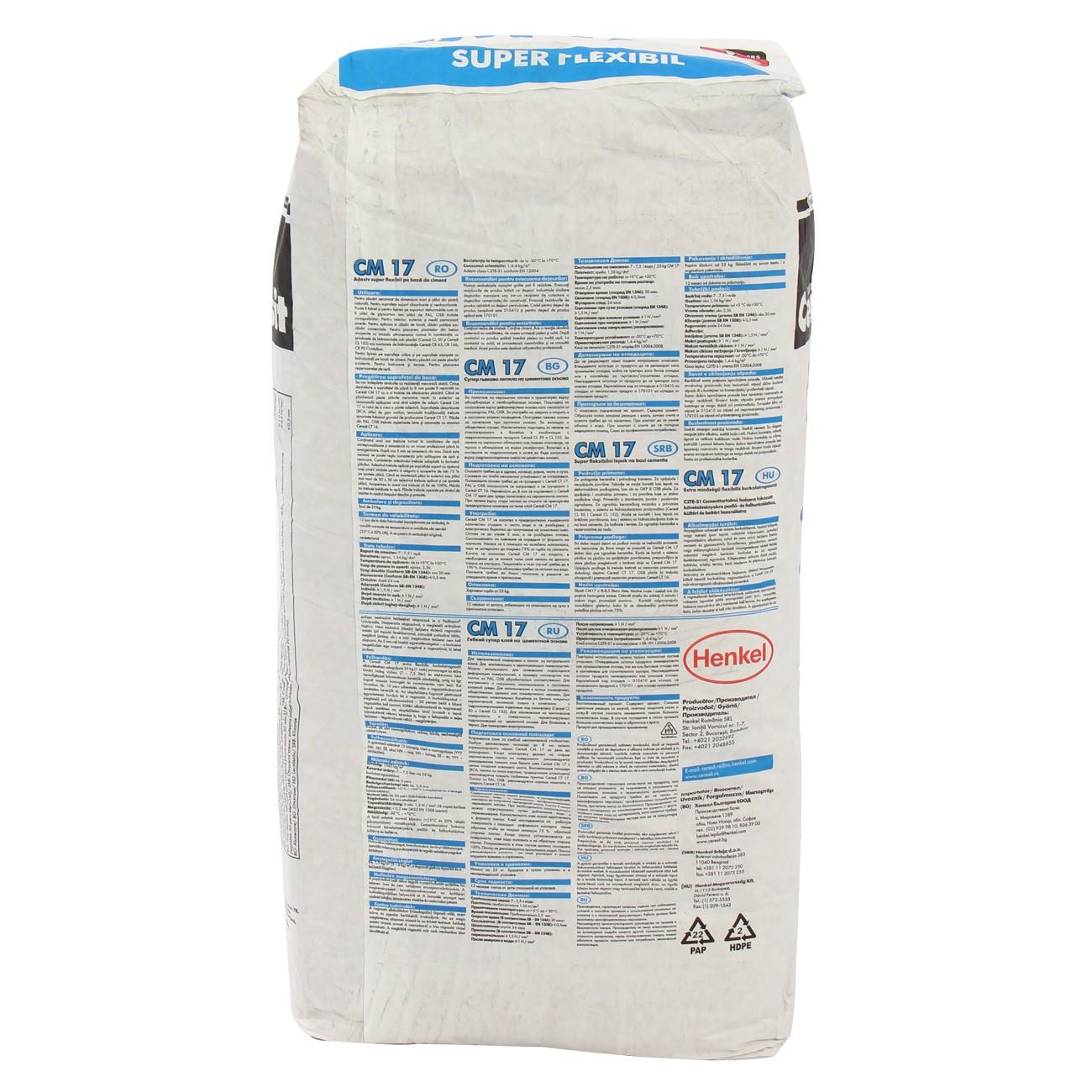 Adeziv super - flexibil pentru gresie si faianta Ceresit CM 17, interior / exterior, gri, 25 kg