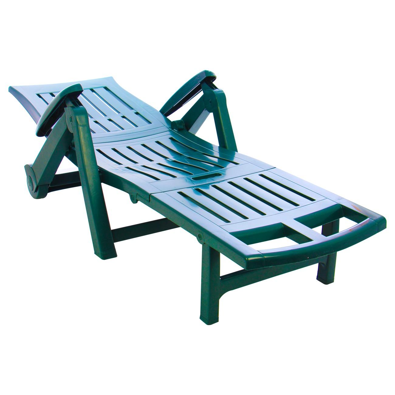 Sezlong plaja Zaffiro pliabil structura plastic verde 195 x 72 x 101 cm