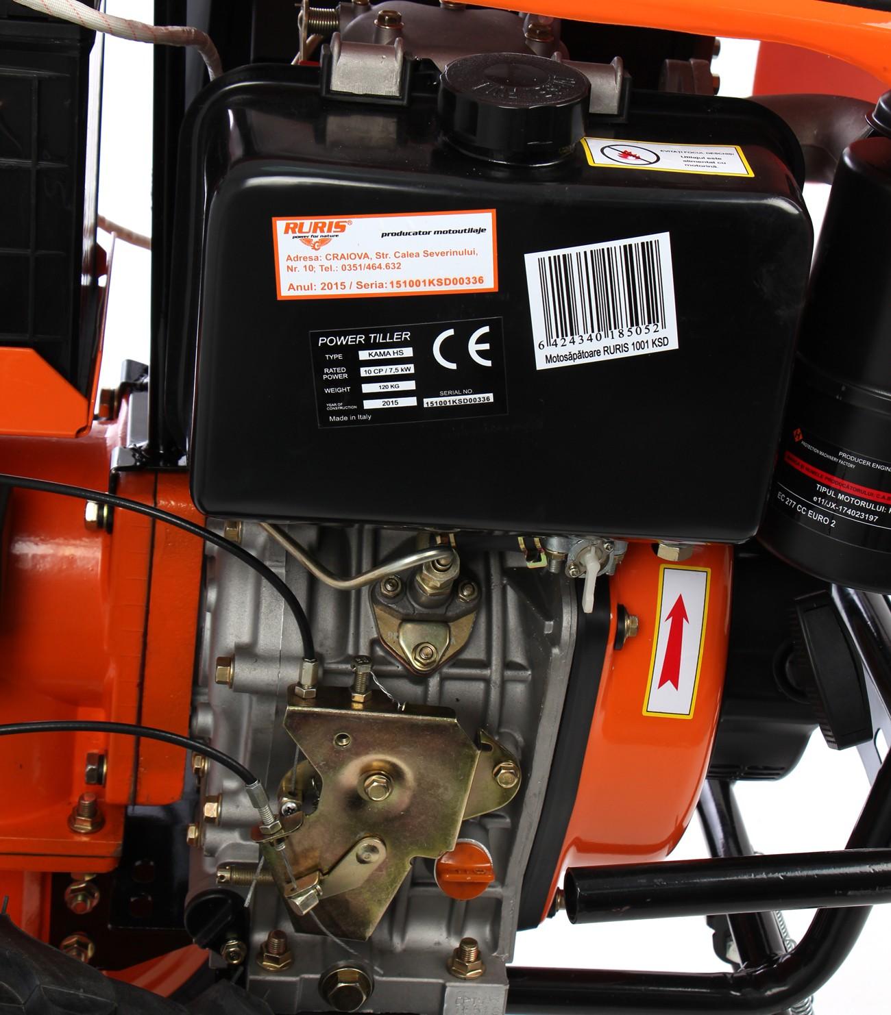 Motocultor diesel Ruris 1001 KSD 10 CP, 3 viteze + accesorii