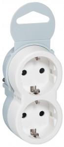 Adaptor 2 prize Legrand Helium 050655, 16A, contact de protectie, alb cu gri