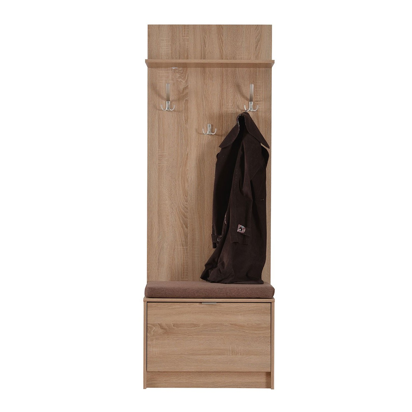 Cuier hol Flamenco cu 8 agatatori si pantofar, stejar sonoma, 670 x 350 x 1915 mm, 3C