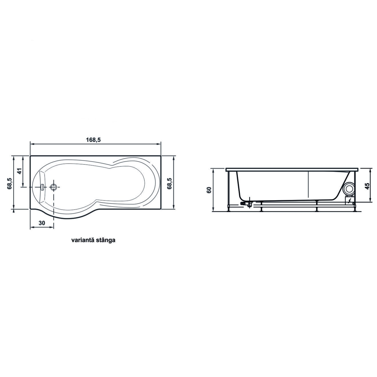 Cada baie cu hidromasaj + aeromasaj, rectangulara, Rugiada, masca inclusa, acril, montaj stanga, 170 x 70 cm