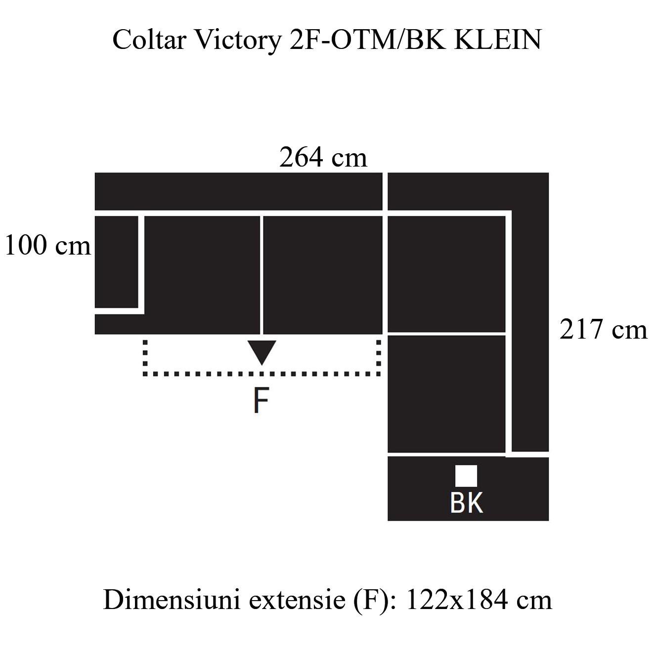 Coltar living extensibil pe stanga Victory 2F-OTM/BK KL, cu lada, bej, 264 x 217 x 89 cm, 2C