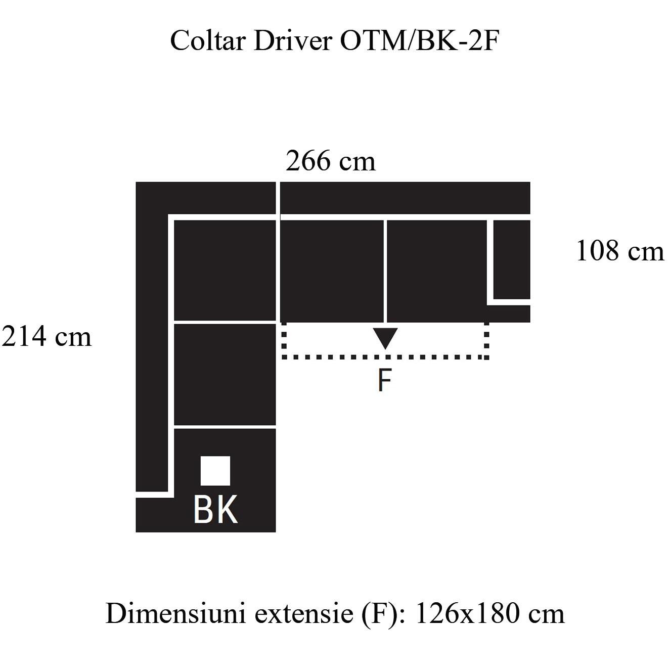 Coltar living extensibil pe dreapta Driver II OTM/BK-2F, cu lada, piele naturala neagra, 266 x 214 x 96 cm, 2C
