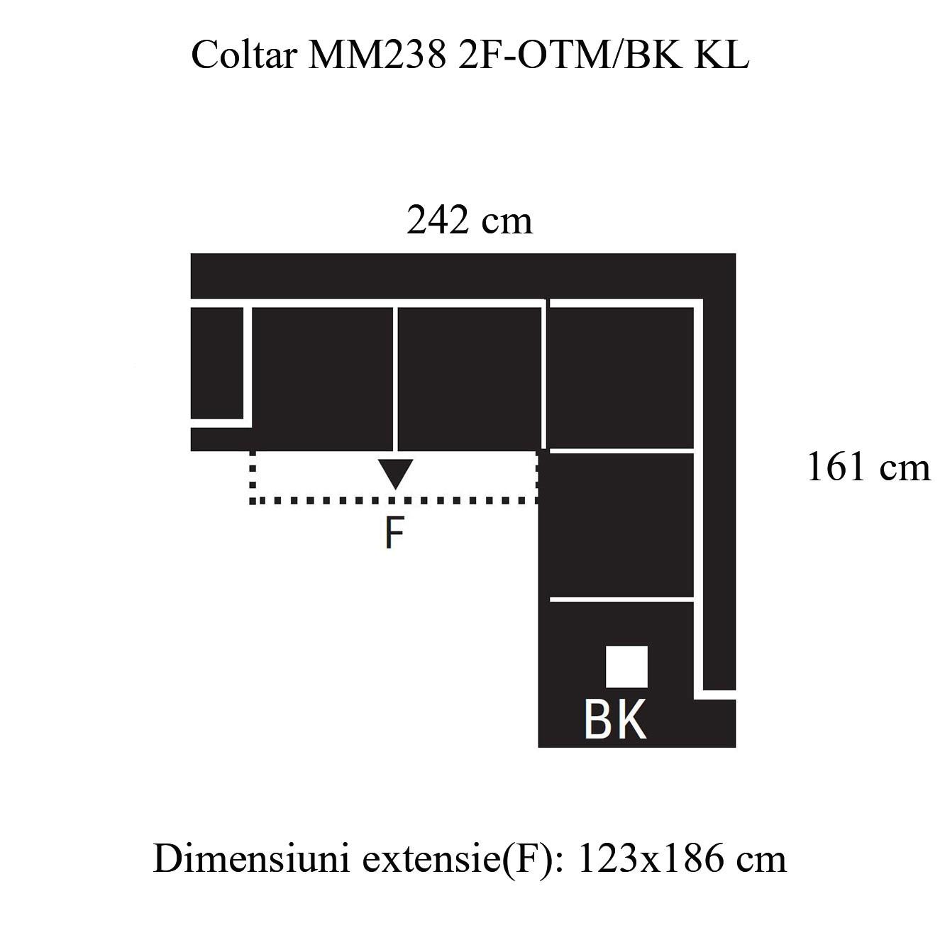 Coltar living extensibil pe stanga MM238 2F-OTM/BK KL, cu lada, maro, 242 x 161 x 92 cm, 2C