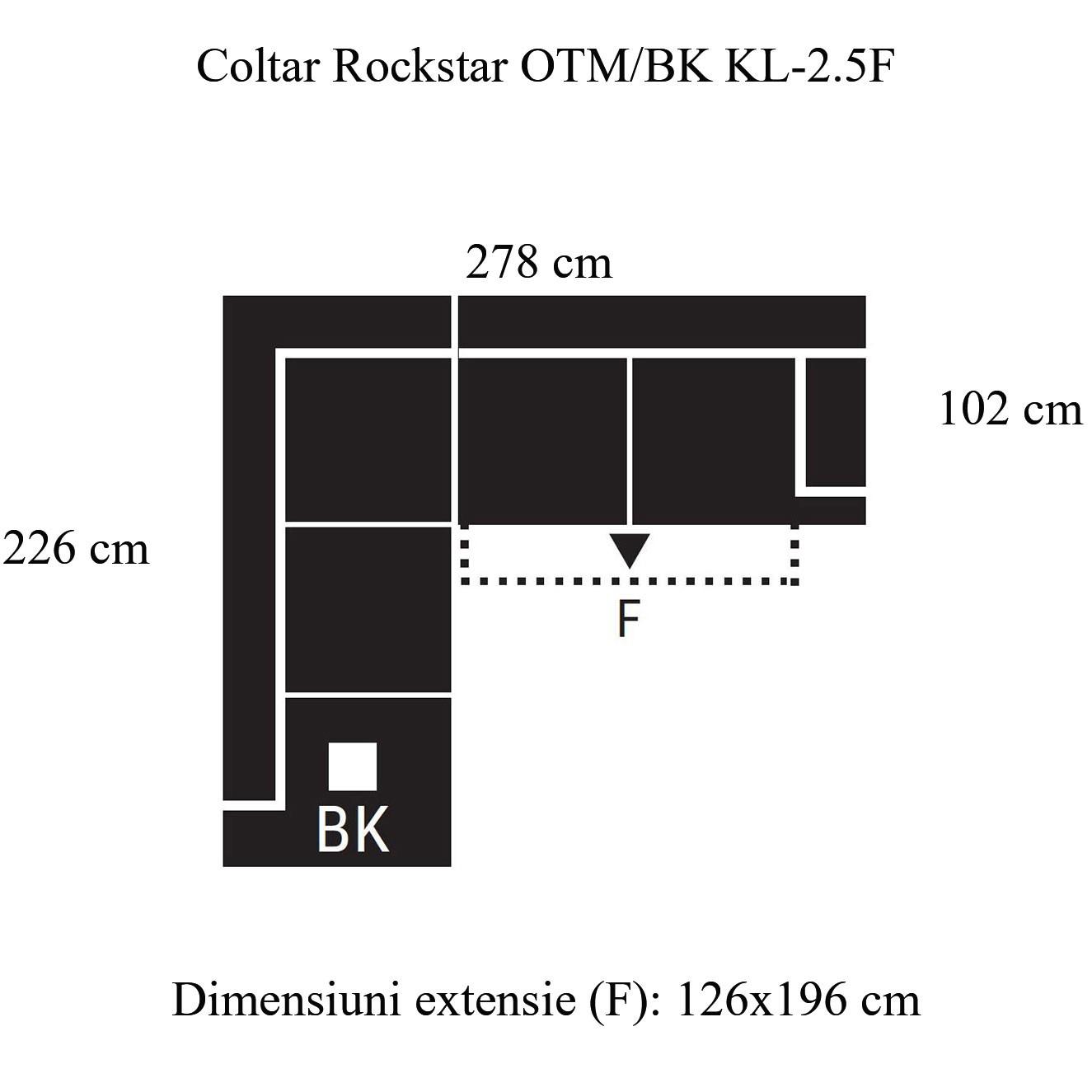 Coltar living extensibil pe dreapta Rockstar OTM/BK KL-2.5F, cu lada, gri, 278 x 226 x 88 cm, 2C
