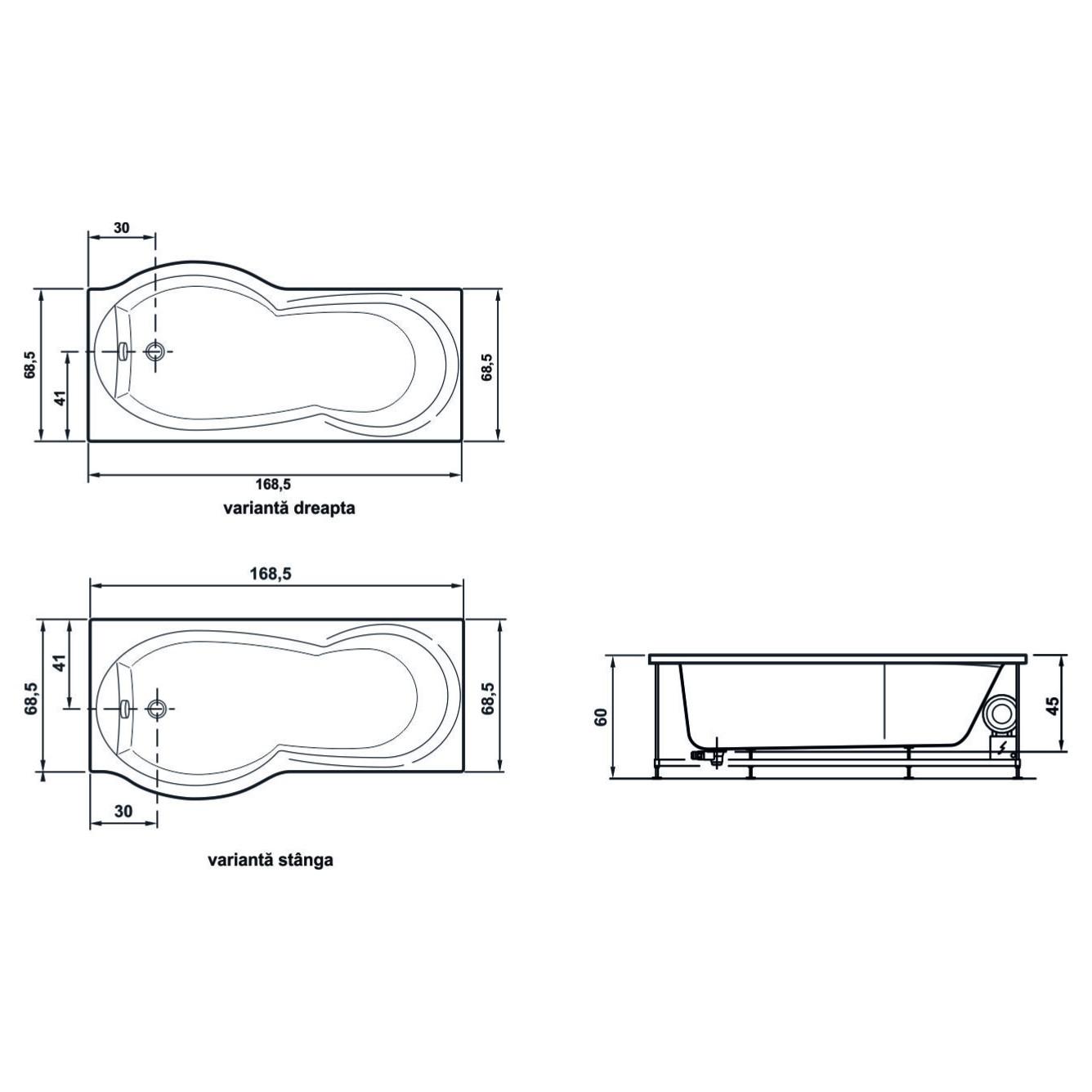 Cada asimetrica cu paravan si hidromasaj, West Rugiada, masca si suport incluse, 170  x 70 cm, montaj dreapta