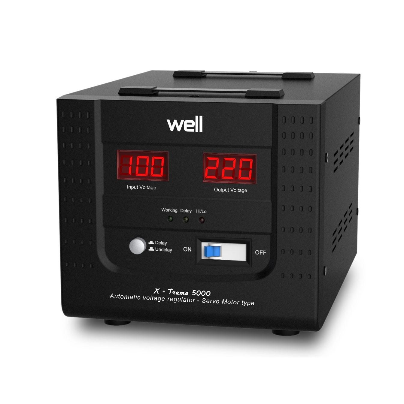 Stabilizator de tensiune cu servomotor, Well AVR-SRV-5000VA-WL, 5000VA / 3000W