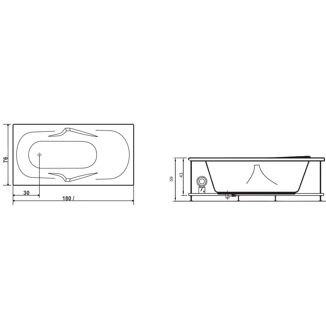 Cada baie rectangulara West Alice, acril, masca frontala si suport incluse, 180 x 76 cm