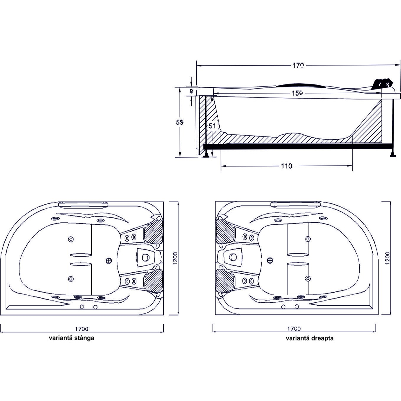 Cada baie cu hidromasaj asimetrica, pe colt, montaj stanga, Kadda Aisha, masca inclusa, acril, 168 x 120 cm