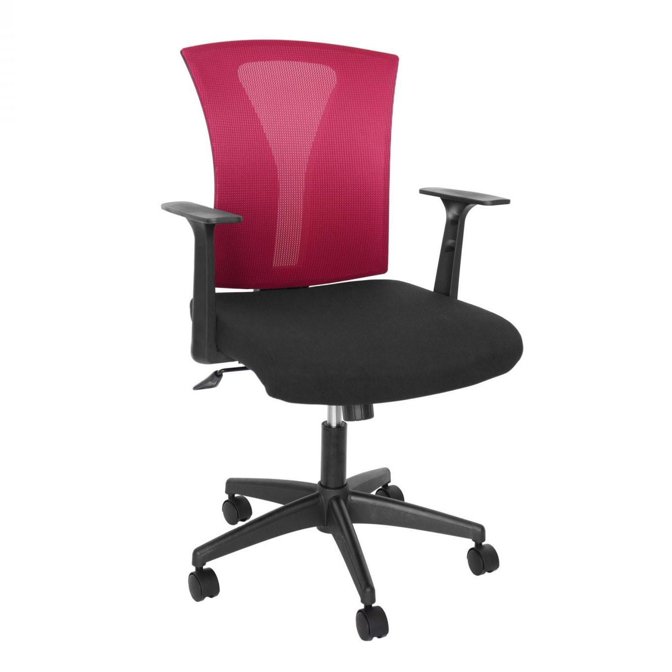 Scaun birou ergonomic Vector, rotativ, mesh + material textil, bordo + negru