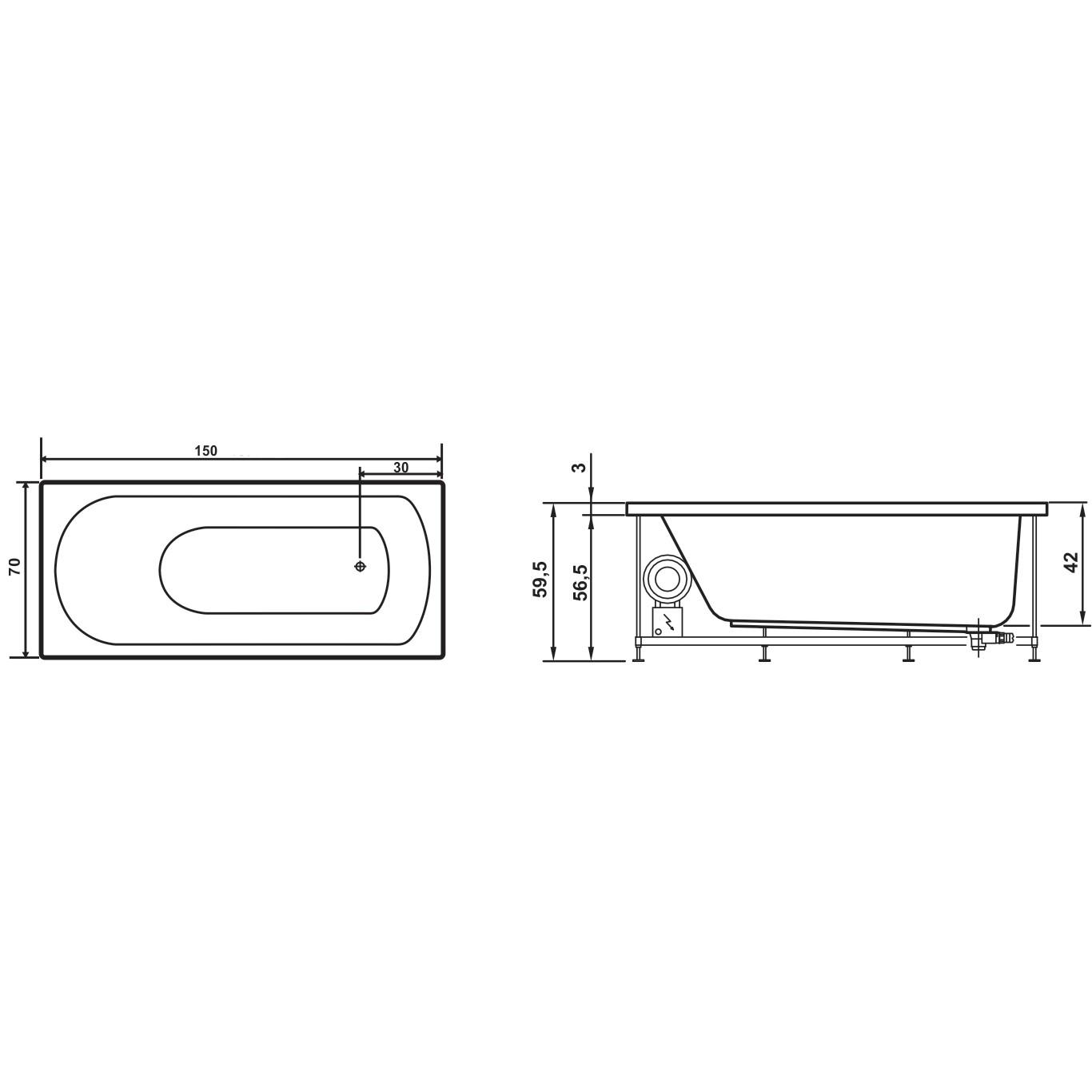 Cada baie rectangulara West Amalia, acril, masca frontala si suport incluse, 150 x 70 cm