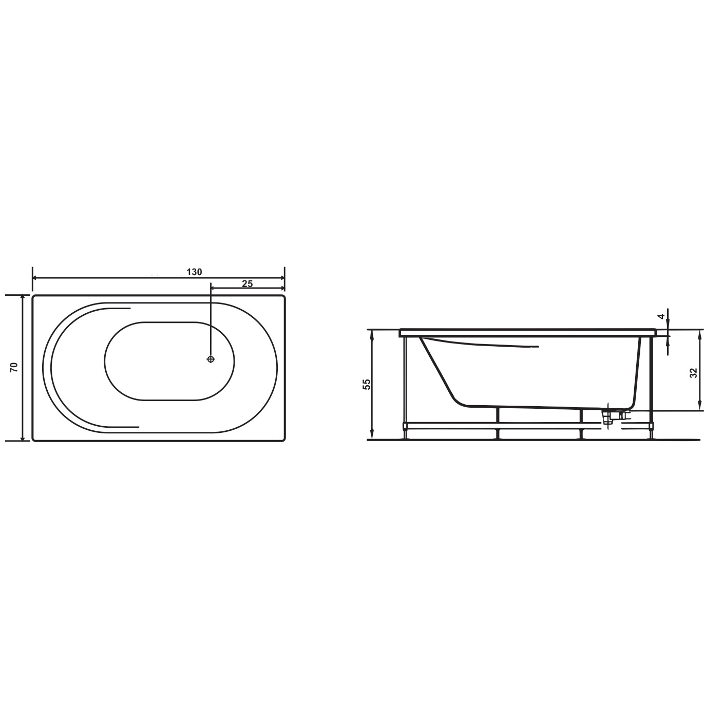 Cada baie rectangulara West Rose, masca frontala si suport incluse, acril, 130 x 70 cm