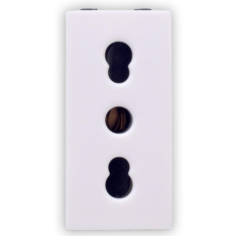 Priza simpla Hoff, incastrata, modulara - 1, contact de protectie, 16A, alba
