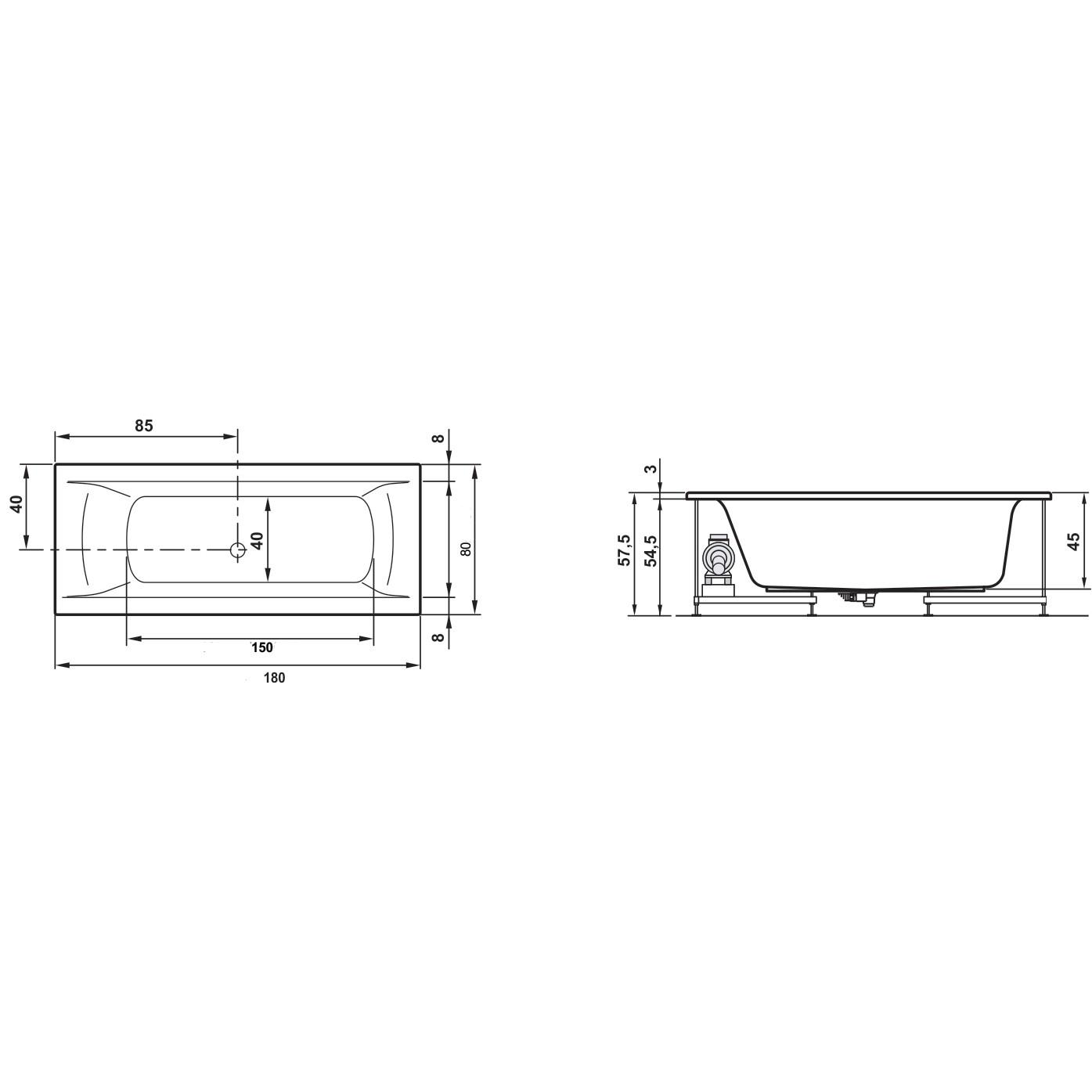 Cada baie rectangulara West Elegancia, masca frontala si suport incluse, 180 x 80 cm