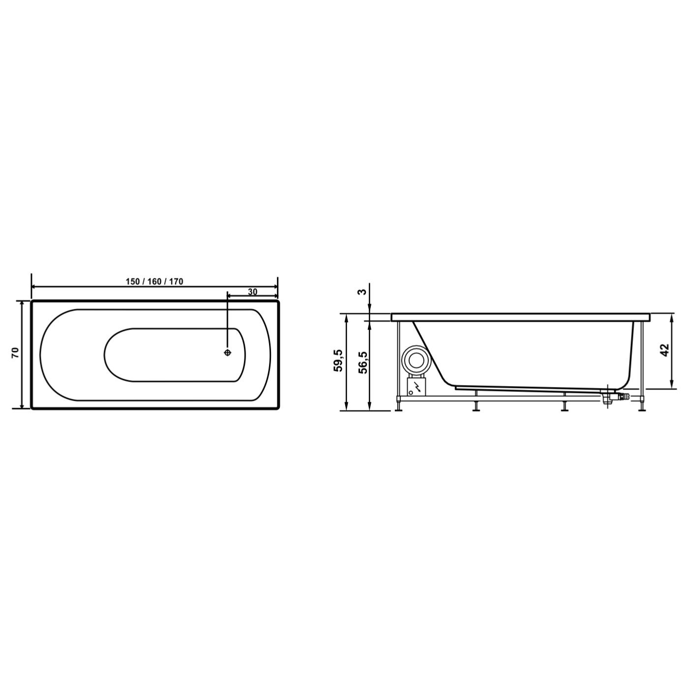 Cada baie cu hidromasaj rectangulara, Amalia, acril, masca frontala inclusa, 150 x 70 cm