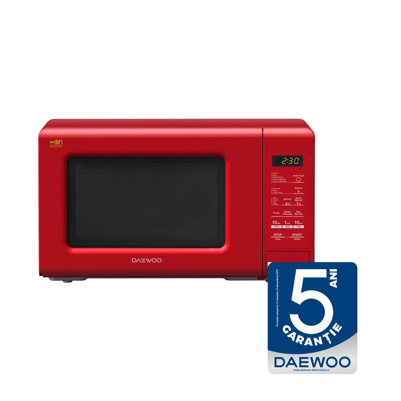 Cuptor cu microunde Daewoo KOR-6S2BR, 20 l, 800 W, 10 nivele de putere, control electronic, rosu