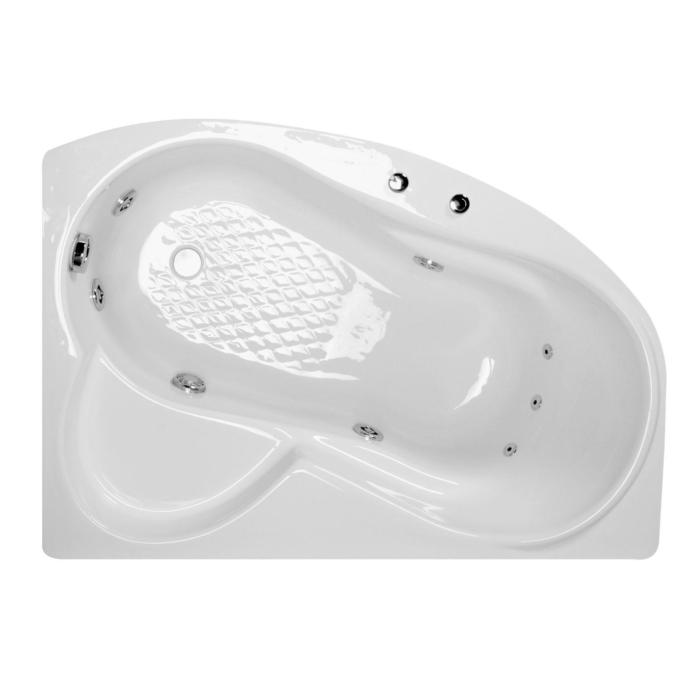 Cada baie cu hidromasaj asimetrica, pe colt, montaj pe dreapta, West VI Ana, masca inclusa, 140 x 90 cm