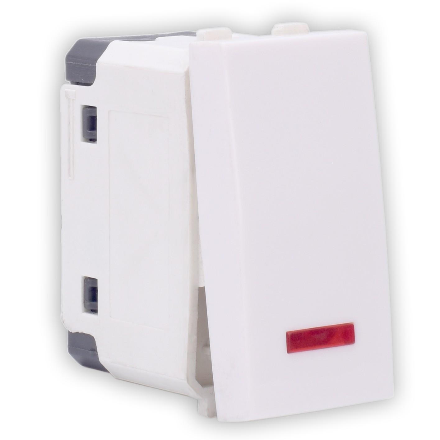Intrerupator simplu cu indicator luminos Hoff, incastrat, modular - 1, 16A