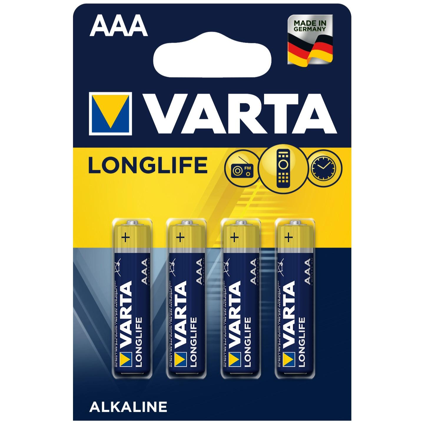 Baterie Varta Longlife Extra 4103, R3 / AAA, Alkaline, 4 buc