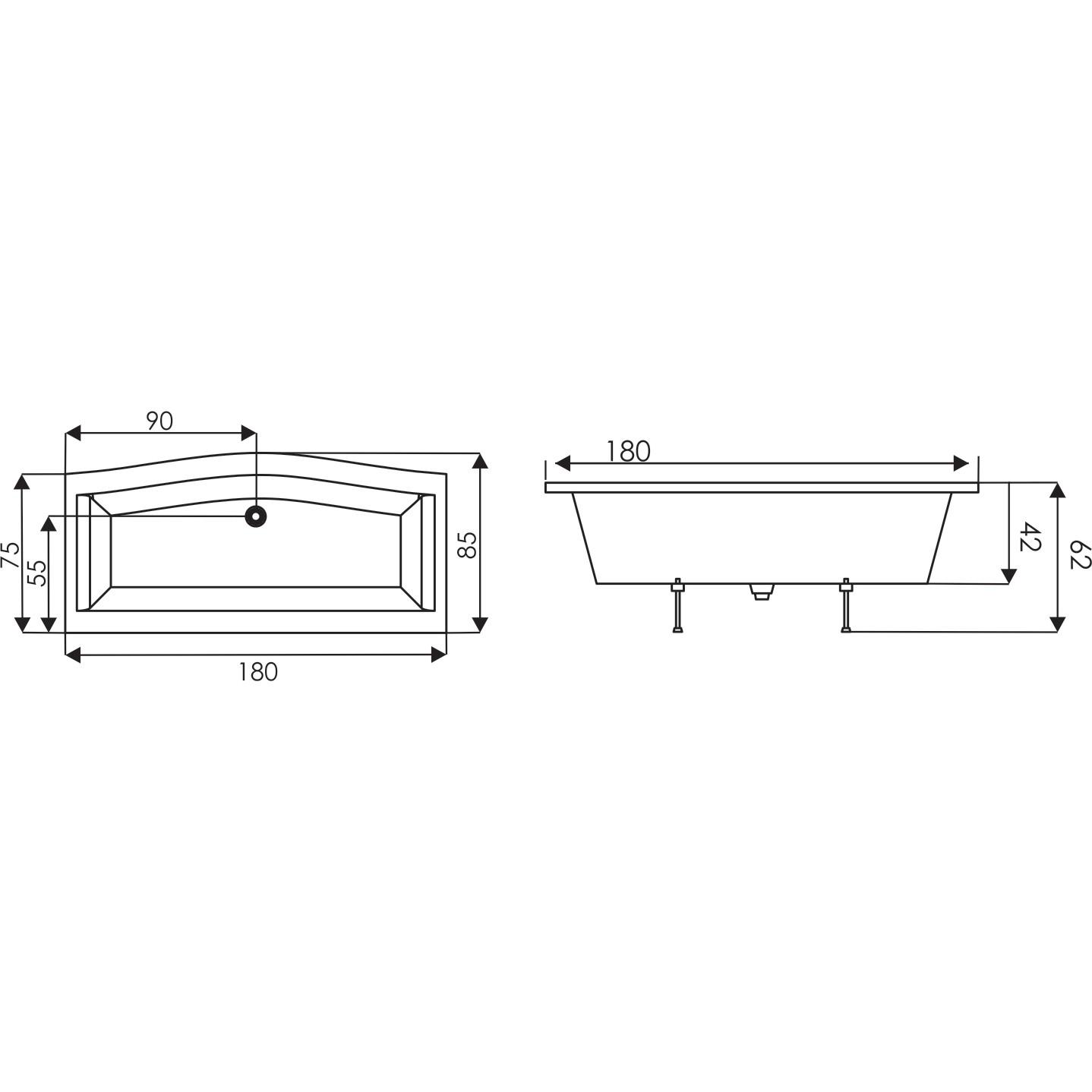 Cada baie rectangulara West Anca, masca frontala, masca laterala si suport incluse, acril, 180 x 85 cm