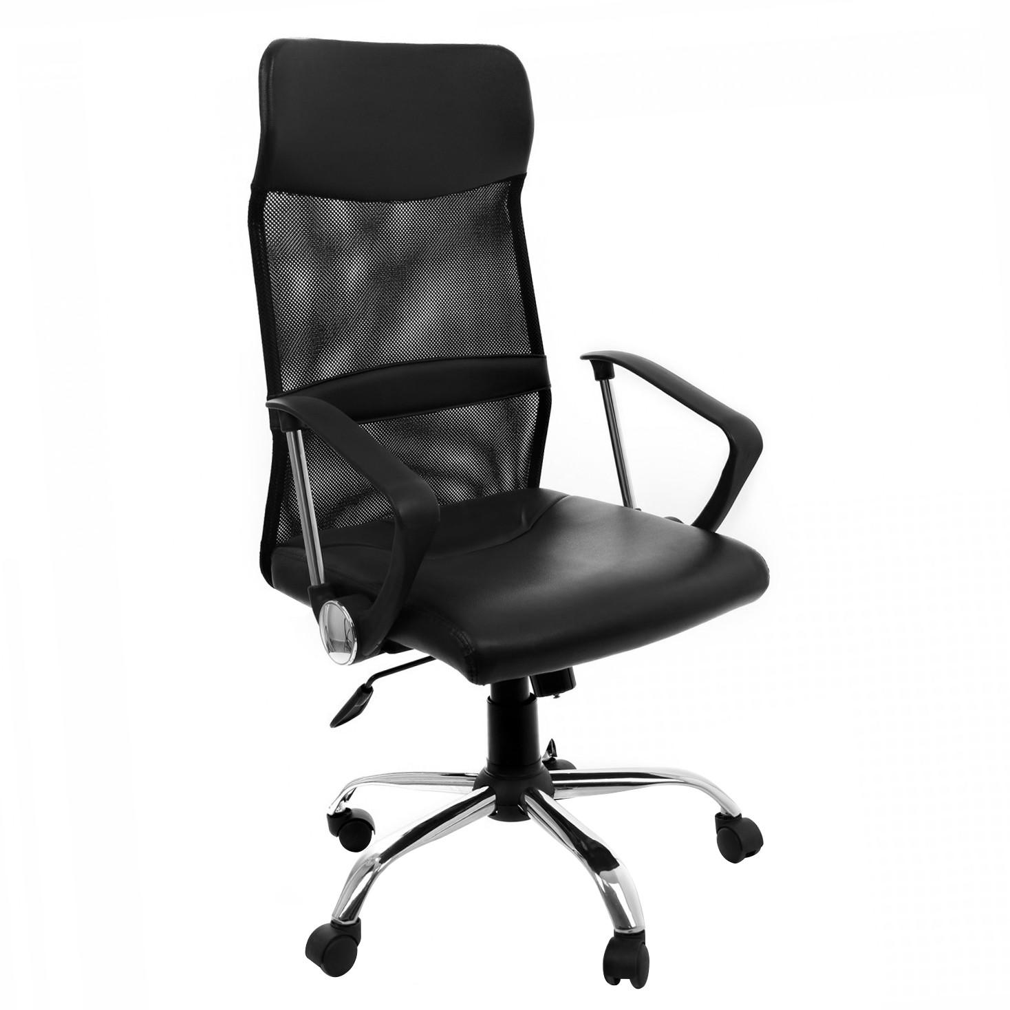 Scaun birou ergonomic Ares, rotativ, imitatie piele + mesh, negru