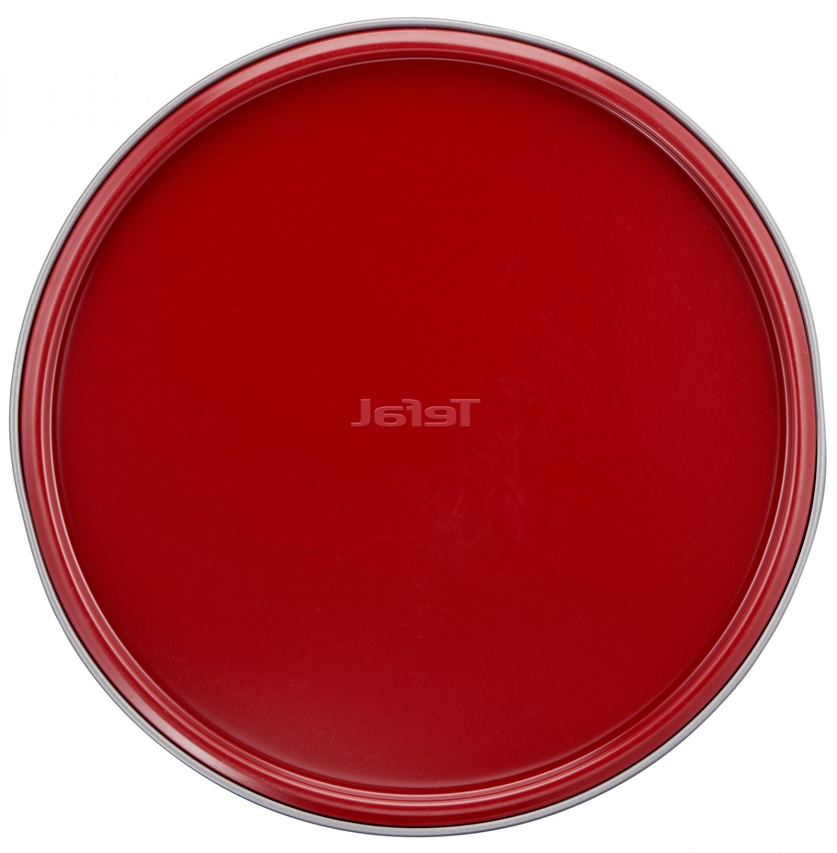 Tava rotunda pentru copt, Tefal Delibake Springform, otel carbon, margine detasabila, rosu / gri, D 19 cm