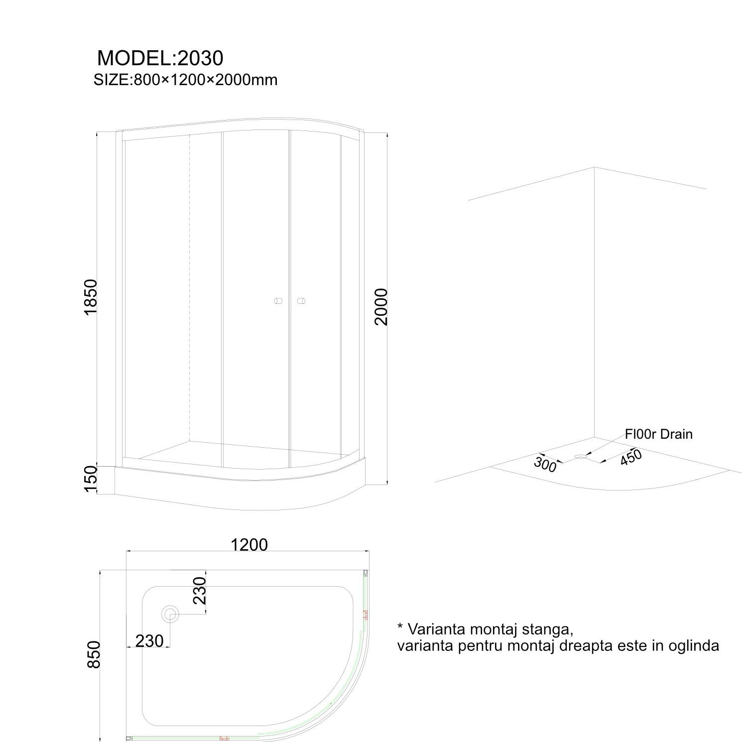 Cabina dus + cadita, asimetrica, montaj pe dreapta, ANS - 2030 , 120 x 85 cm