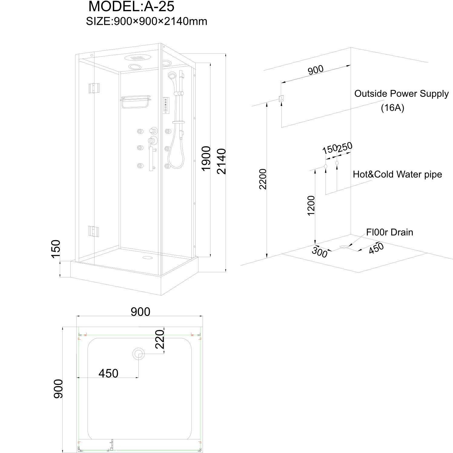 Cabina dus cu hidromasaj ANS A-25, 90 x 90 x 214 cm