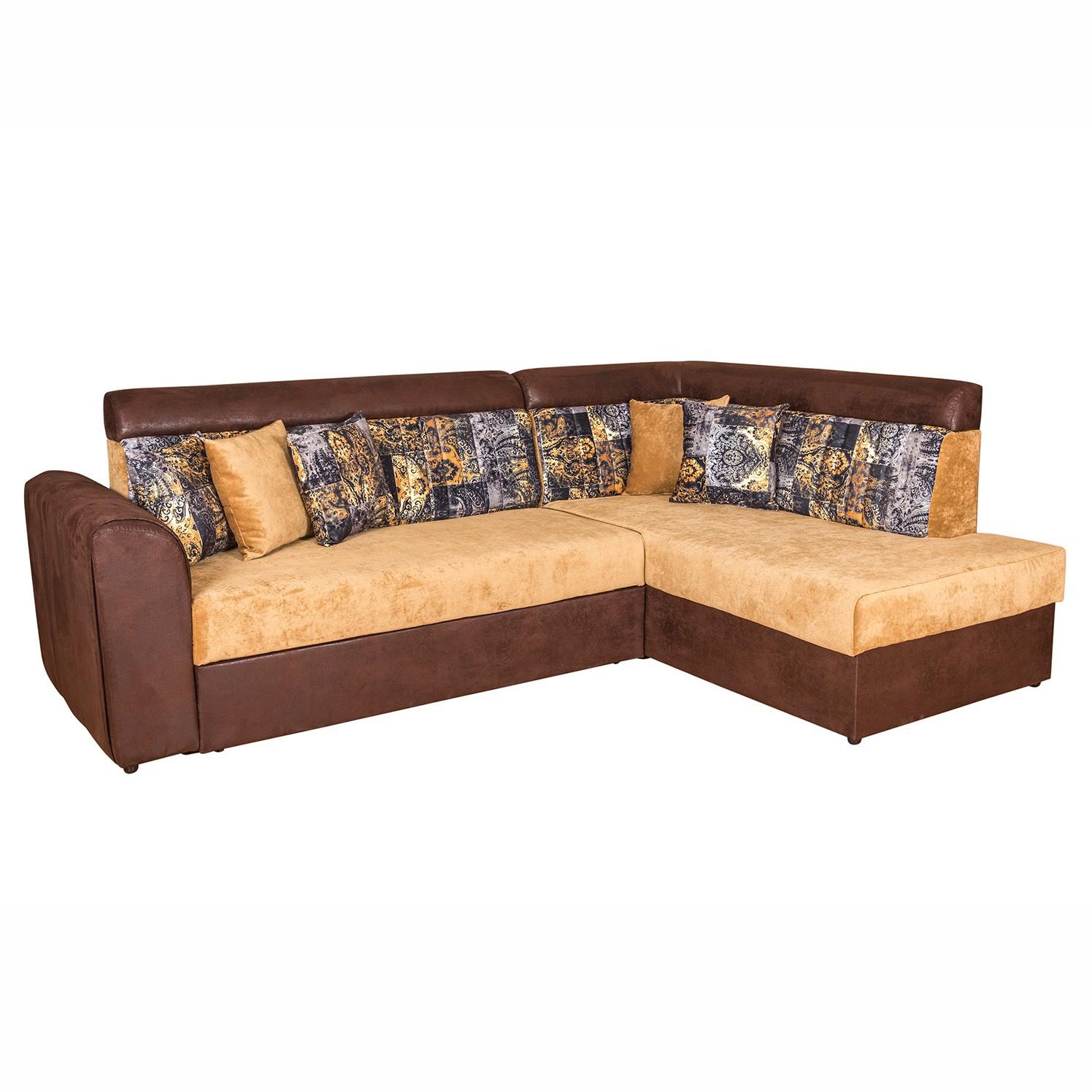 Coltar living extensibil pe stanga Octavia, cu lada, maro + crem, 250 x 175 x 90 cm, 3C