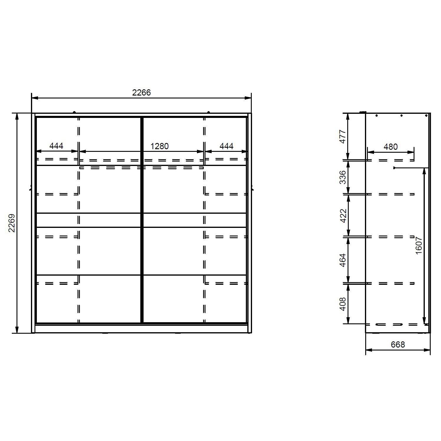 Dulap dormitor Pictor, stejar auriu + alb, 2 usi, 226.5 x 67 x 227 cm, 5C