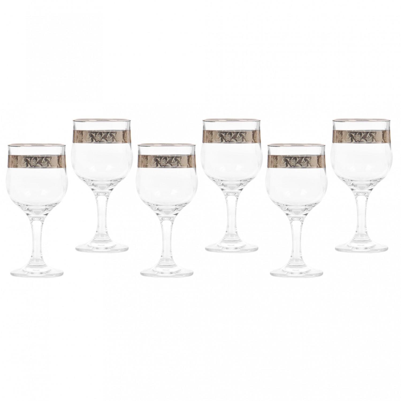 Pahar apa, Violet, platinum, din sticla, 315 ml, set 6 bucati