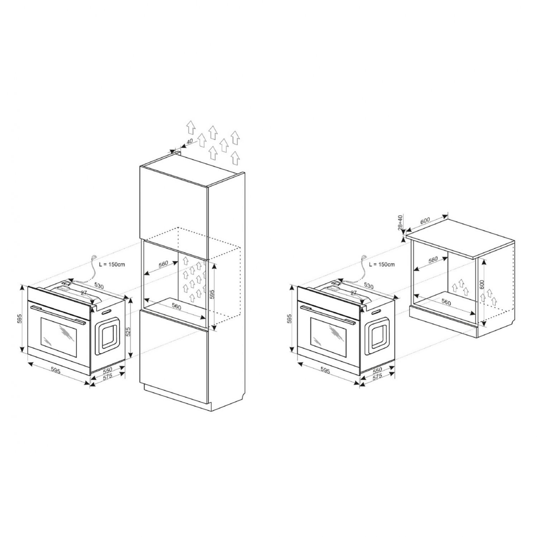 Cuptor electric incorporabil Hansa Scandium BOEI68182, clasa A, 62 litri, 8 functii, grill, ventilator, timer, display, 2900 W, argintiu
